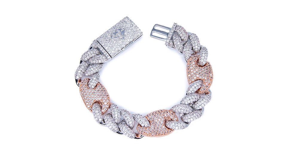 VVS - Bracelet Mariner cuban link 16MM Or Blanc / Or Rose