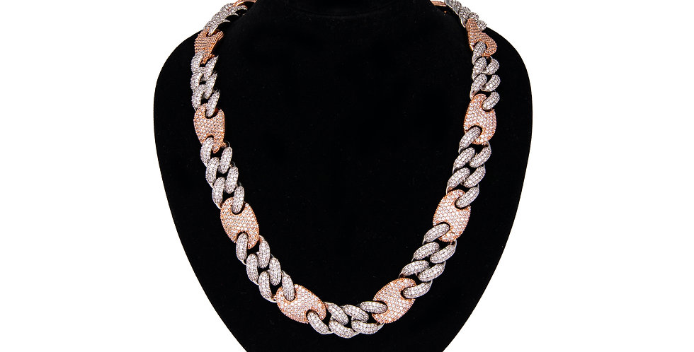 VVS - Mariner cuban link 16MM Or blanc/ Or Rose