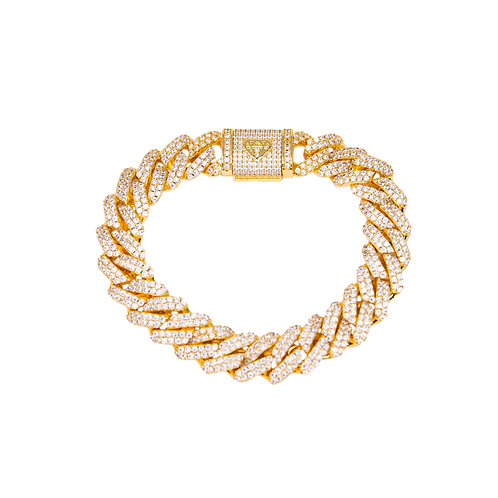 PRONG CUBAN BRACELET 12MM GOLD