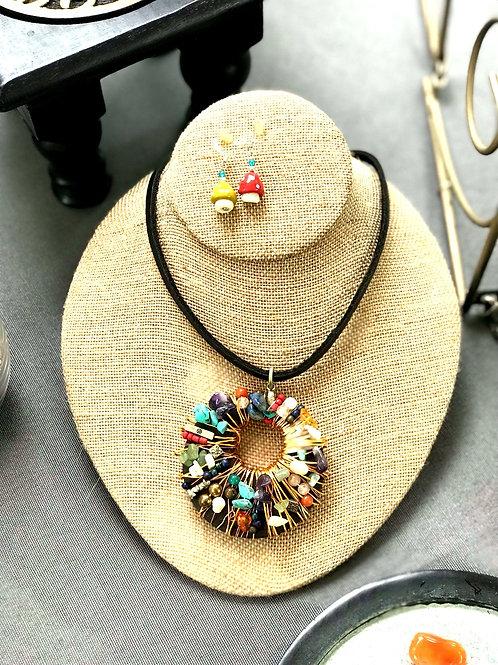 Multi Stone Necklace w/ shroom earrings