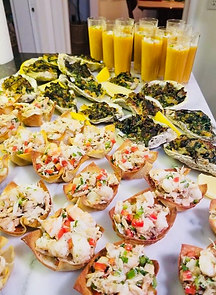 Lobster Bisque Shooters, Oysters Rockafellar, Seafood Ceviche in Wonton Cups