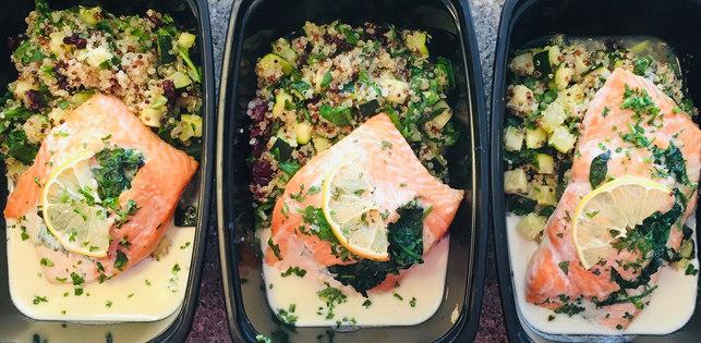 Spinach Stuffed Salmon, White Wine Sauce, Zucchini-Cranberry Quinoa Salad