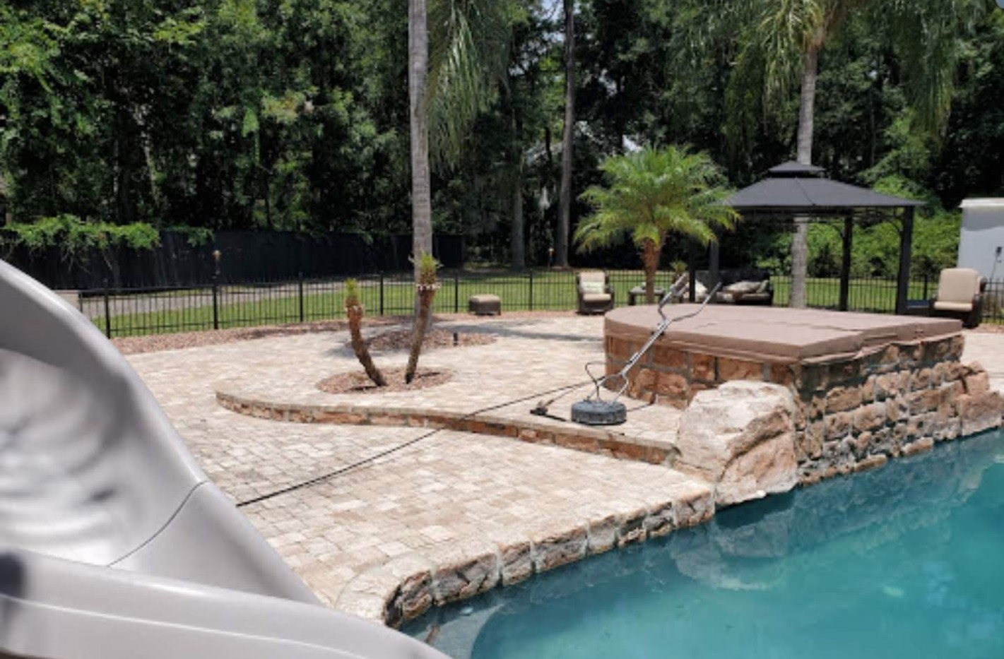 Pool deck and paver stone cleaning, Fernandina Beach Florida