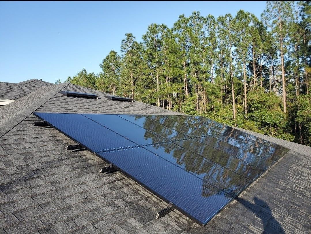 Freshly cleaned solar panel-Amelia Island FL
