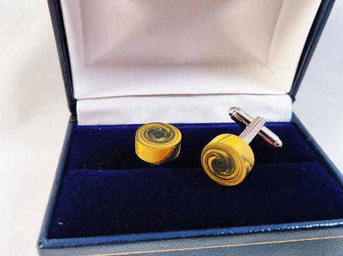 Ebonite black and yellow swirl cufflinks