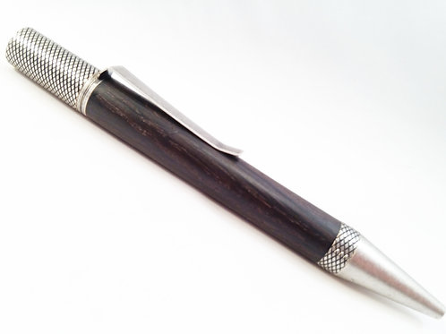 Irish Bog Oak pen in antique silver hardware