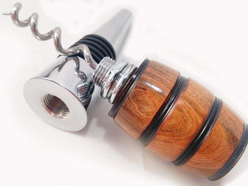 Chacate Preto wood wine stopper/corkscrew combo