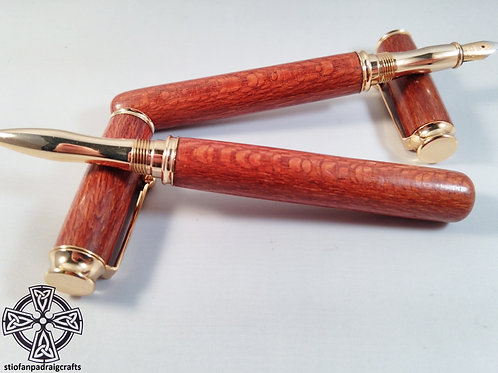 Lacewood fountain pen and rollerball set in Gold hardware