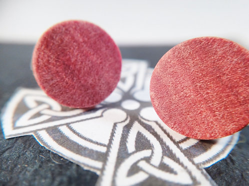 Pink Ivory wood stud earrings