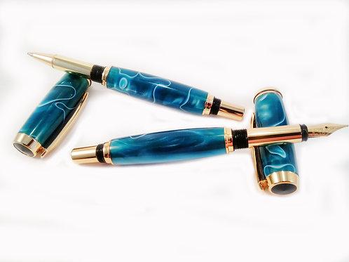 Cobalt blue fountain pen and rollerball pen set