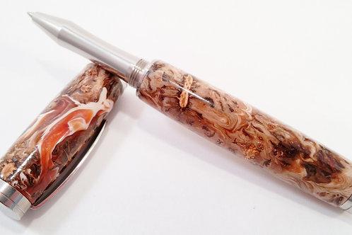Mini pine cones and resin rollerball pen