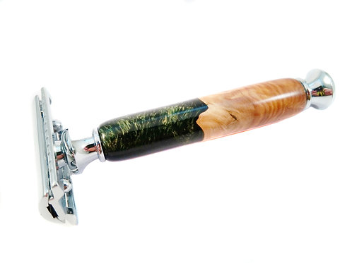 Forest green Hybrid wood safety razor