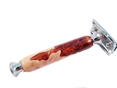 Flame red Hybrid wood safety razor