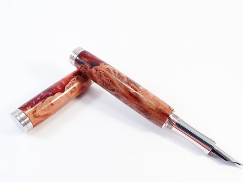 Red Mallee burl and resin fountain pen
