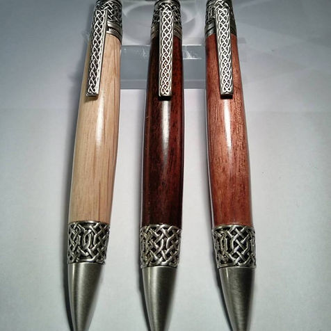 Celtic pens in Oak Walnut and Sapele