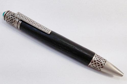 Irish bog oak Celtic pen in Antique pewter