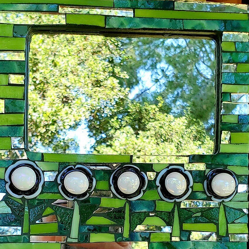 Spring green stained glass mirror