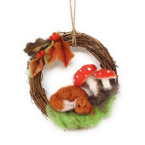 Fox Wreath Needle Felting Kit