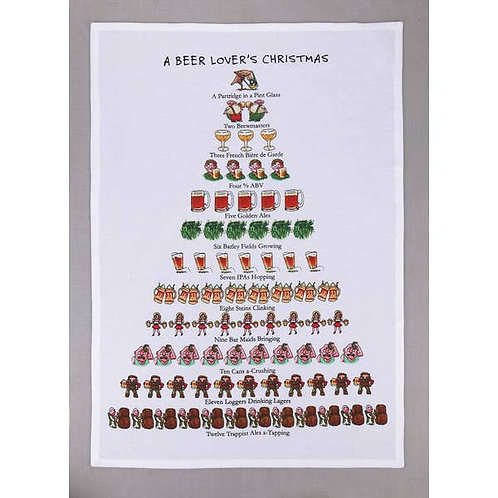 A Beer Lovers Christmas Kitchen Towel