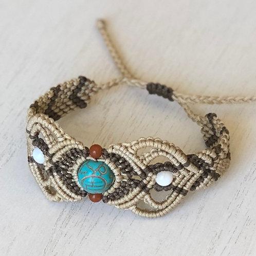 Adjustable tribal micro macrame bracelet