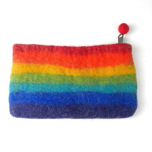 Rainbow Felted Coin Pouch