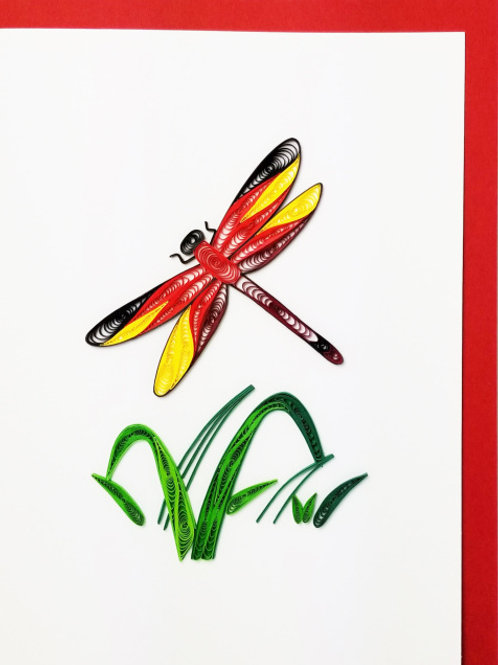 Dragon Fly Quilled Card