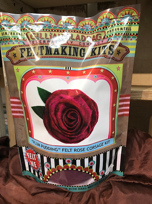 """Plum Pudding"" Felt Rose Corsage Kit"