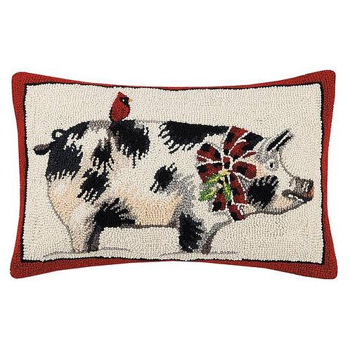 Holiday Pig With Cardina Hook Pillow
