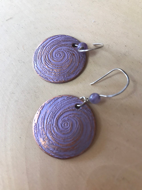 Enamel and Copper Earrings