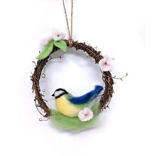 Blue Tit Wreath Needle Felting Kit