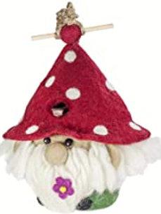 Felted Sheep's Wool Birdhouse - Garden Gnome Design