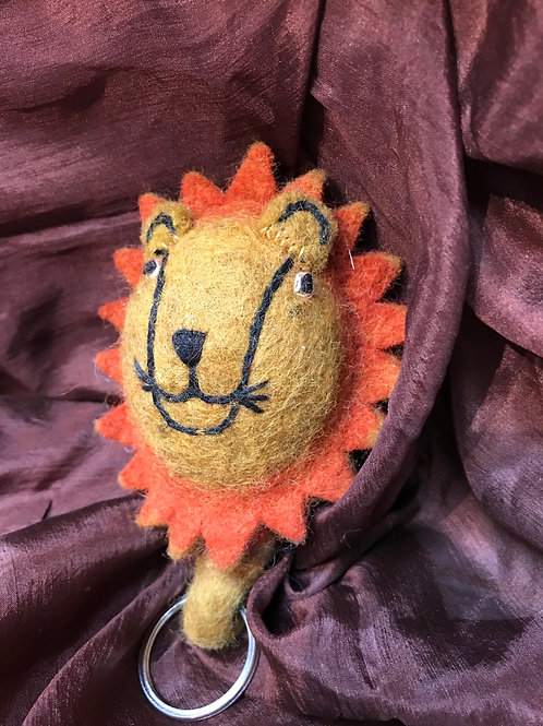 Lion Felted Key Chain