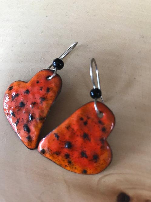 Enamel and Copper Earrings