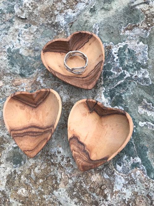 Petite Olive Wood Heart Trinket Bowl