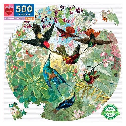Hummingbirds 500 Piece Round Puzzle