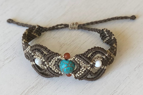 Adjustable tribal micro macrame bracelet
