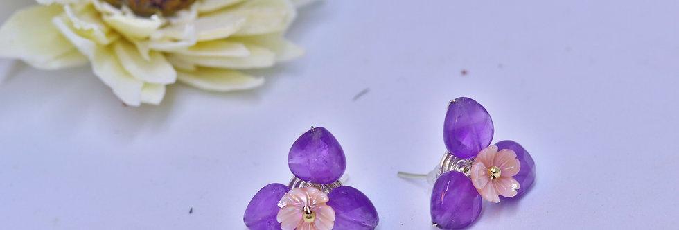 Amethyst Crystal Flower ear ring