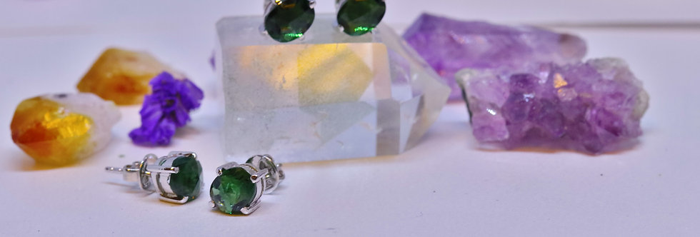 Laser Cut Green Tourmaline Ear Ring