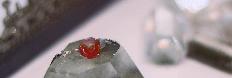 Red Agate Flower with Labradorite Crystal