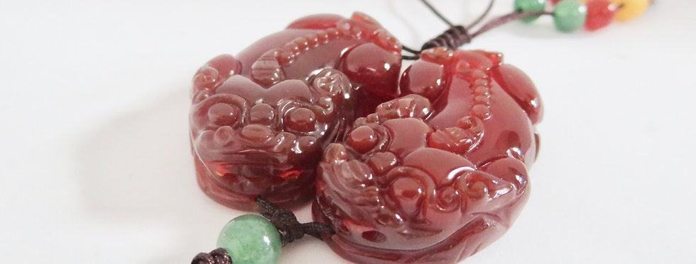 Red Agate Pi Siew With Infinity Knot