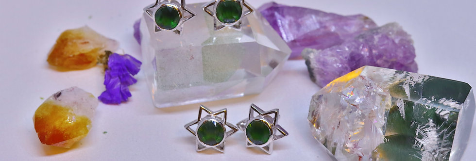 Laser Cut Green Tourmaline Star Ear Ring