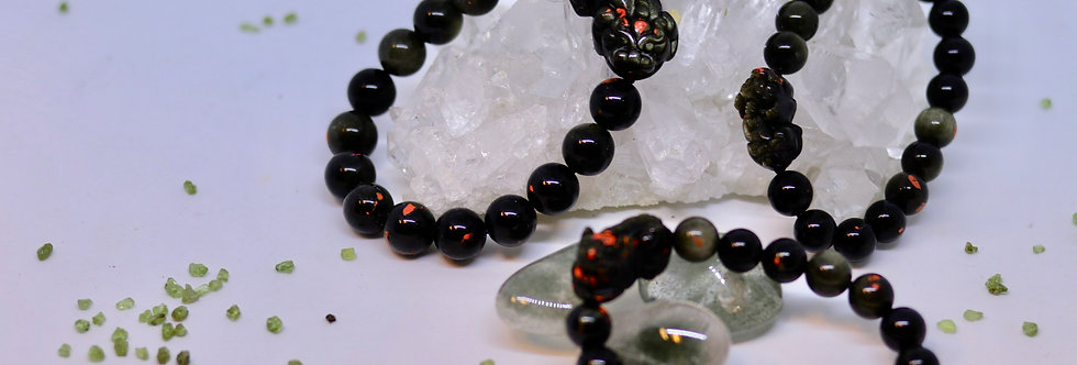 Blessed Golden Obsidian Pi Siew Crystal