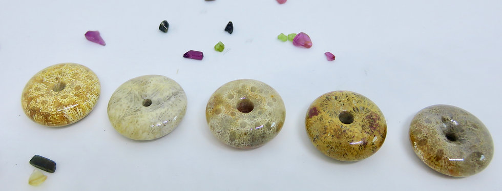 Coral Jade Donut 25mm