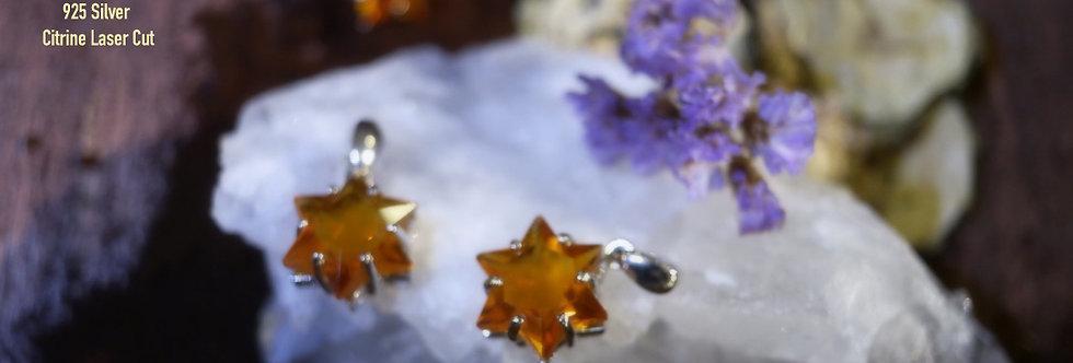 925 Silver Lasercut Citrine Star (within star)