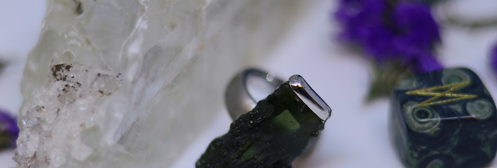 Raw Moldavite Ring 01