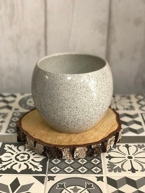 Speckled grey bowl plant pot
