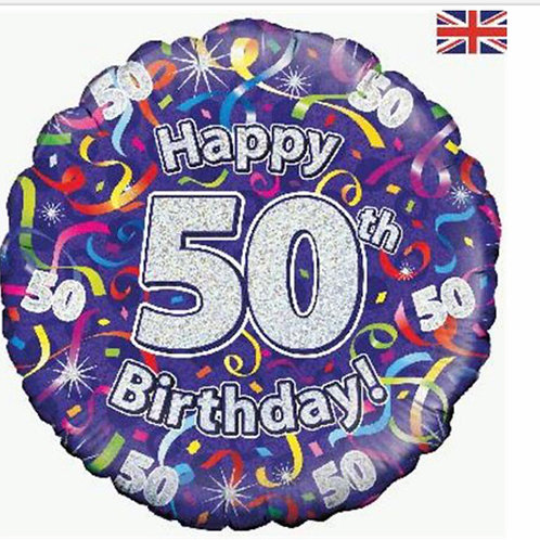 Happy 50th Birthday Balloon (Purple & Silver)