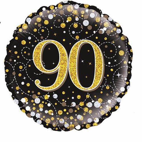 Happy 90th Birthday Balloon (Black & Gold)