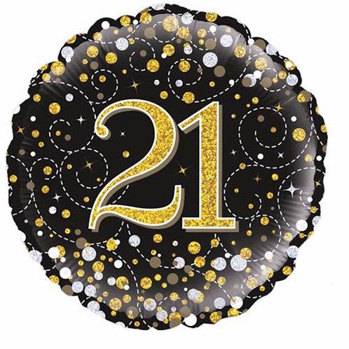 Happy 21st Birthday Balloon (Black & Gold)
