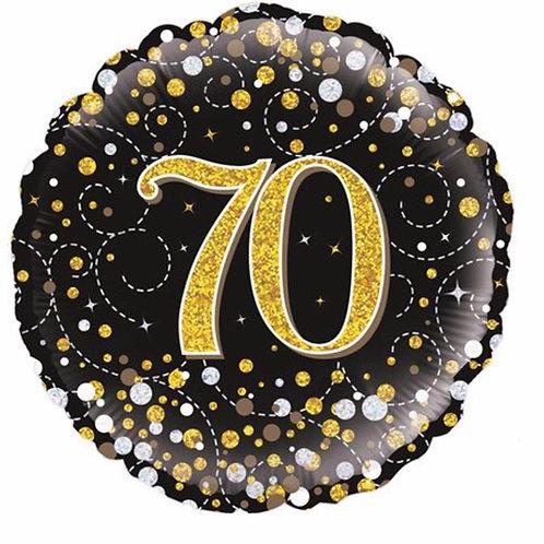 Happy 70th Birthday Balloon (Black & Gold)